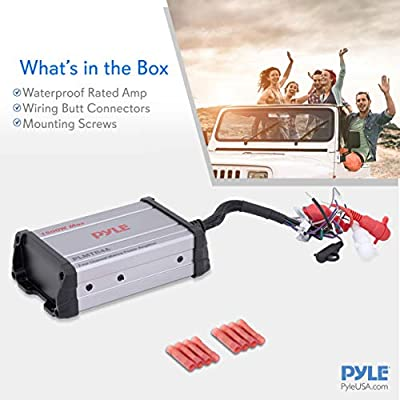 1200 Watt Power Pyle 4-Channel Marine Amplifier Receiver Wired RCA AUX and MP3 Audio Input Cable PLMTR4A Waterproof and Weatherproof Audio Subwoofer for Boat Stereo Speaker /& Other Watercraft