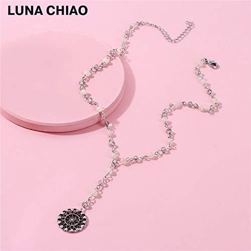 Metal Color: Antique Gold, Length: 40cm Davitu Crystal Beaded Chain Link Drop Chain Necklace Hollow Circle Metal Pendant