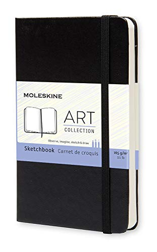 "Moleskine Art Sketchbook, Hard Cover, Pocket (3.5"" x 5.5"") Plain/Blank, Black, 80 Pages"