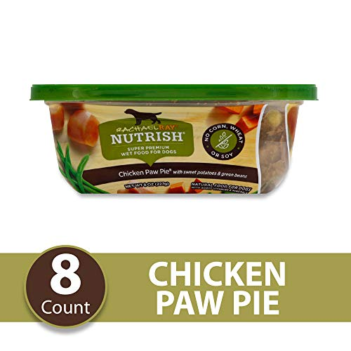Rachael Ray Nutrish Premium Natural Wet Dog Food, Chicken Paw Pie with Sweet Potatoes & Green Beans, 8 Ounce Tub (8 Count)