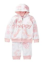 Be Happy Two Piece Hooded Sweat Suit in Pink Tie Die (2T)