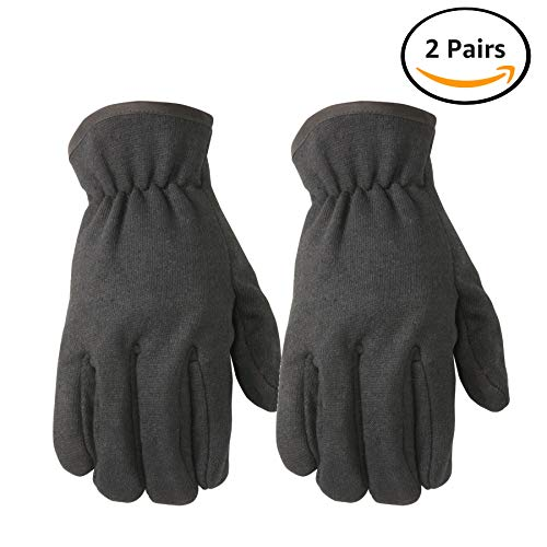 Fleece-Lined Jersey Work Gloves, Straight Thumb, Slip-On, Elastic Wrist, 2-Pack, Large (Wells Lamont -
