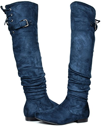 DREAM PAIRS Damenmode Casual Overknee Pull On Slouchy Boots Blau