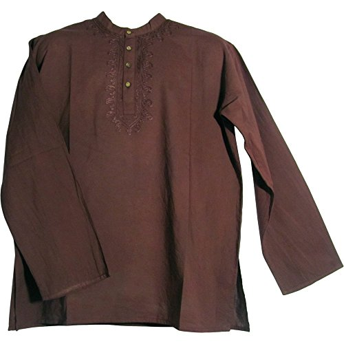 Men's Indian Yoga Mandarin Collar Gauze Cotton Embroidered Tunic Shirt Kurta (Large/XL, Brown) (Best Iron Tonic In India)