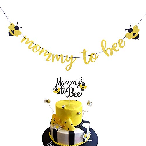 Rainlemon Bumble Bee Mommy to Be Banner and Cake Topper Boy Girl Baby Shower Party Decoration Supply