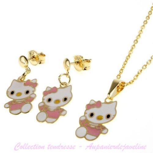 Bijoux Kids–Juego de joyas infantil Hello Kitty rosa suave–tono plata