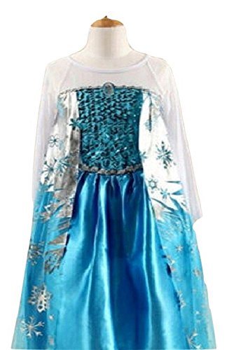 Girls Kids Frozen Queen Elsa Princess Anna Costume Cosplay Party Dress Up 2-8 Years (3-4Y(Tag NO.110))