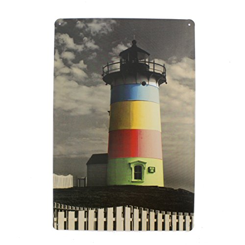 12x8 Inches Pub,bar,home Wall Decor Souvenir Hanging Metal Tin Sign Plate Plaque (Lighthouse 2) ()