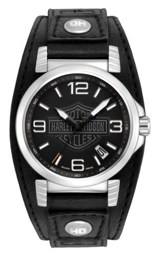 Harley-Davidson Men's Bulova Stainless Steel Black Leather Date Watch. 76B163