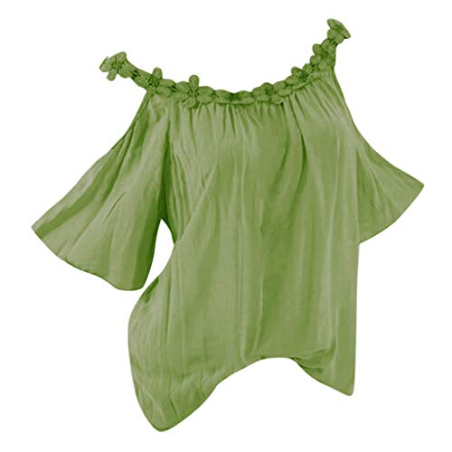 Lace Strapless Tuxedo - DAYPLAY Womens Tops Plus Size Strapless Lace Short Sleeve Tee Shirts Loose Fit Tunic Ladies T Shirt Blouses Clothes Sale Green