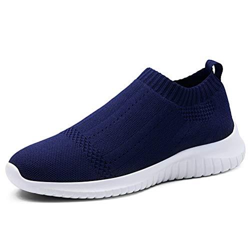 konhill Women's Casual Walking Shoes Breathable Mesh Work Slip-on Sneakers 11 US Navy,43