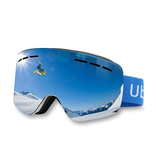 Ubeone Ski Goggles, Anti-Fog OTG Snowboard Goggles 100% UV400 Protection, Dual Layers Lens Spherical Design Snow Goggles Helmet Compatible Snow Goggles for Men Women Boys Girls Kids (Blue Full REVO)