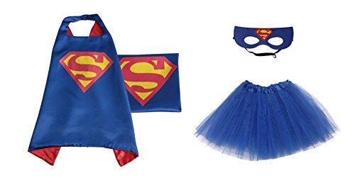 [Rush Dance Kids Children's Deluxe Comics Super Hero CAPE & MASK & TUTU Costume (Blue Superman (Royal Blue] (Comic Superman Costume)