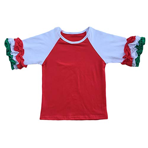 (Little Girls 3/4 Sleeve Icing Ruffle T-Shirt Top Halloween Xmas Raglan Sleeve Toddler Baby Boutique Baseball Tee Shirt Red 2-3 Years)