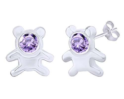 Ring Bear 14k Teddy (Mothers Gift Simulated Alexandrite Cute Teddy Bear Stud Earrings 14K White Gold Over Sterling Silver)