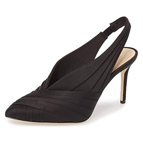 atin Ruched Slingback Pumps Pointed Toe High Heels Wedding Shoes Size 8.5 Black ()