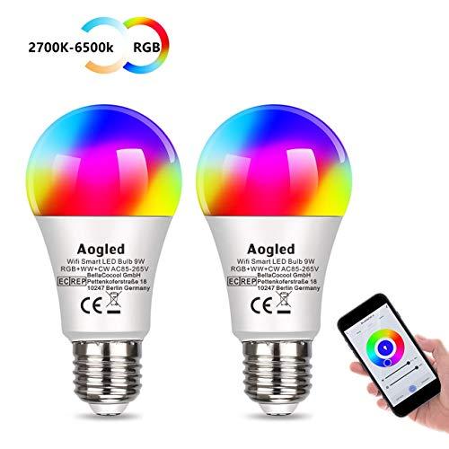 Lampadina Smart WiFi LED Aogled E27 9W 240V,Equivalente Lampada Alogena 60W,Lampadina RGBCW Multicolore Dimmerabile Funziona Con Alexa,Google Home,2.4GHz Wi-Fi E27 Lampadina 2700K-6500K,2 Pcs