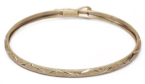 "Flexible Round bangle bracelet w/ Diamond Cut Design - 10k Yellow Gold – 8 Inches (0.16"" - Cut Diamond Gold Bracelet Design"