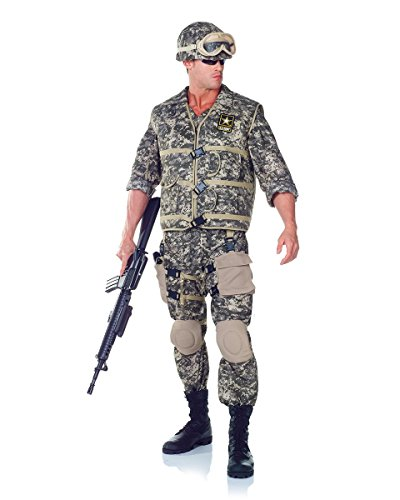 [Underwraps Men's Plus-Size U.S. Army Ranger DLX Adult, Camo, XX-Large] (Army Men Halloween Costumes)