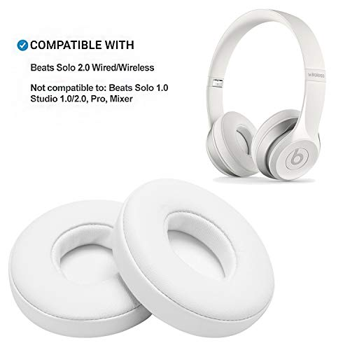 (White Replacement Earpads, AGPTEK 2 Pieces Foam Ear Pad Cushion for Beats Solo 2 Wireless Headphone)
