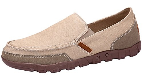 DADAWEN Men's Slip-On Deck Boat Shoes Canvas Walking Driving Loafers Beige BI6mtC9E5