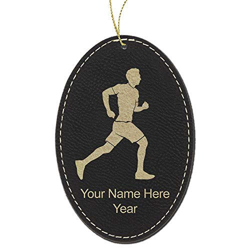 LaserGram Faux Leather Christmas Ornament, Running Man, Personalized Engraving Included (Black with Gold, Oval) (Christmas Personalized Ornament Oval)