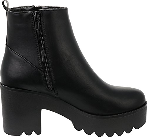Bootie Zip Heel Platform Cambridge Lug Ankle Sole Women's Pu Side Select Chunky Block Black qtwPga