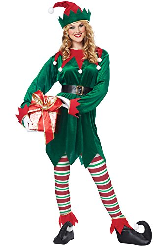 Christmas Costumes - California Costumes Christmas Elf Adult, Green/Red, X-Large