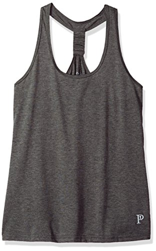 Privagio Moisture Wicking Poly-Rayon Racer Back Yoga Tank Top, Grey, Medium