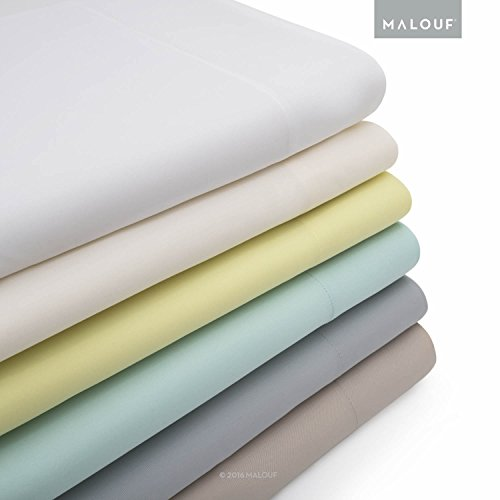 MALOUF 100% Rayon from Bamboo Sheet Set-4-pc Set-Queen, Queen, White