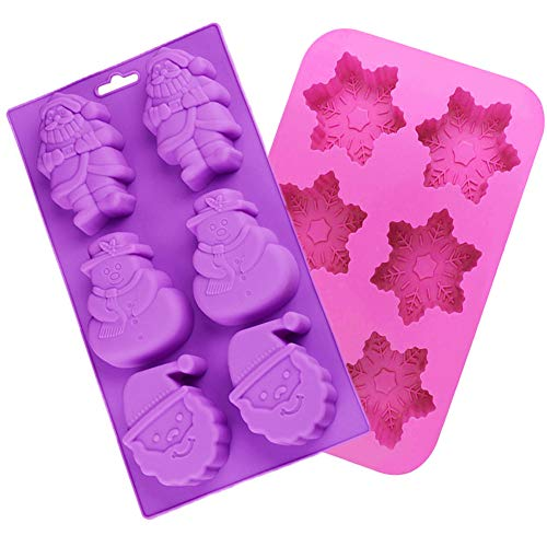 Holiday Silicone Molds, Shxmlf Handmade Christmas Soap Molds Chocolate Candy Cake Cupcake Ice Cube Baking Trays,with Shape of Snowflake, Santa Claus,Great for for Party Xmas Gift -2 Pack
