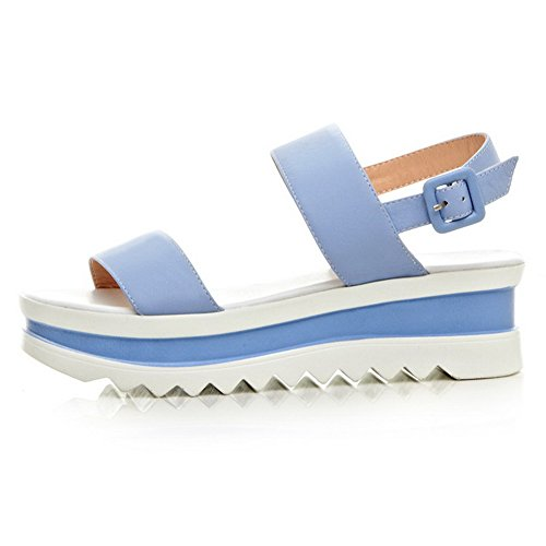 AmoonyFashion Blue Womens Solid Heels Buckle Open Cow Sandals Leather Toe Kitten gpvwqgn