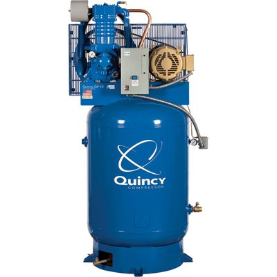 - Quincy QP-10 Pressure Lubricated Reciprocating Air Compressor - 10 HP, 460 Volt, 3 Phase, 120-Gallon Vertical, Model# 3103DS1VCA46