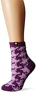 Life is good Women's Lightweight Snuggle Houndstooth Crew Sock (Smoky Plum), One Size