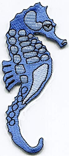 (Seahorse sea Horse Fish ice Blue Embroidered Applique Iron-on Patch)