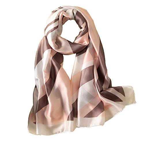 100% Silk Scarf - Women's Fashion Large Sunscreen Shawls Wraps - Lightweight Floral Pattern Satin for Headscarf&Neck (Geometric pattern-Beige) (Fabrics Natural 100%)
