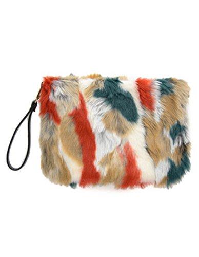 YABINA Fashion Women Functional Multi Large Faux Fur Shoulder Crossbody Side Handbag Bag (MUL-C2)
