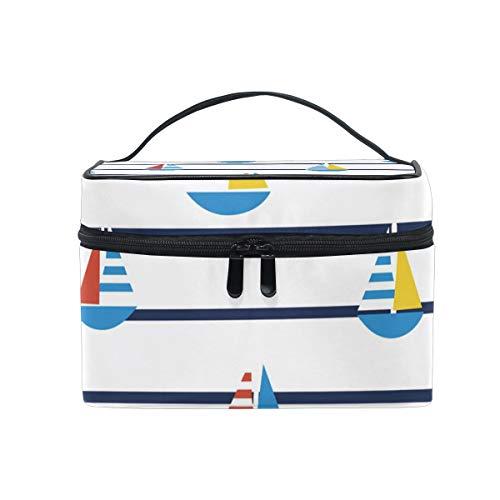 Makeup Cosmetic Bag Sailboats Pattern Marine Stripes Portable Travel Train Case Toiletry Bags Organizer Multifunction Storage