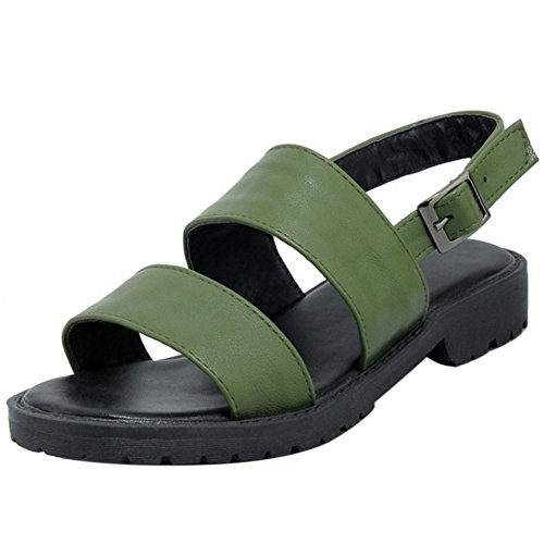 Coolcept Mujer Moda Sin Cordones Sandalias Punta Abierta Singback Planos Zapatos Verde