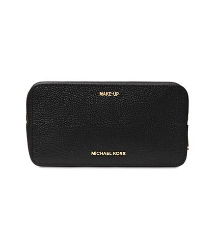 Michael Kors Mercer Large Double Zip Leather Travel Pouch (Black)