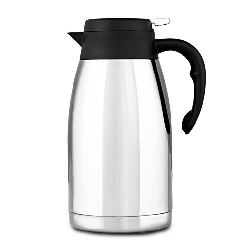 304 Stainless Steel Double Walled Vacuum Insulated Carafe with Press Button Top, Quality Thermal Carafe, Water Pitcher with Lid, coffee Pots, Serving Pitchers Coffee Thermos, 2-liter,Silver