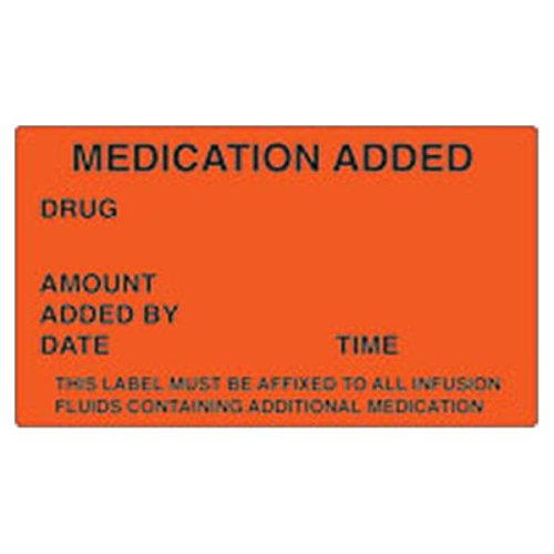 WP000-SN2001 SN2001 Label Medication Added Red 1000 Per Roll From Shamrock Scientific Spec -# SN2001
