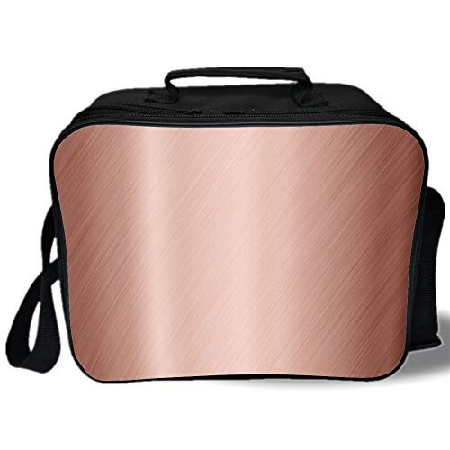 (Insulated Lunch Bag,Copper Decor,Abstract Smooth Alloy Surface Image Diagonal Lines with Reflection,Bronze Light Bronze,for Work/School/Picnic, Grey )