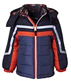 Sportoli Boys' Fleece Lined Hooded Colorblock Winter Puffer Bubble Jacket Coat - Orange Print (Size 5/6)