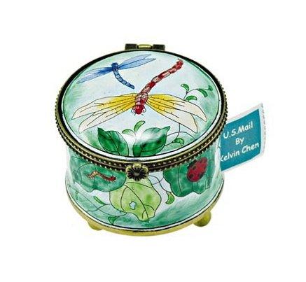 Kelvin Chen Enameled Postage Stamp Holder - Dragonflies