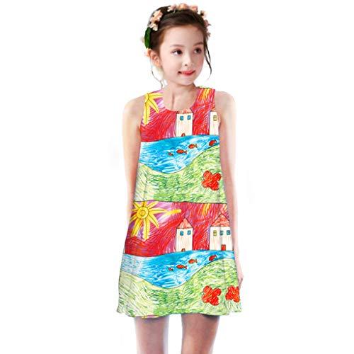 miqiqism Dresses for Kids Girls Summer Printed Round Neck Sleeveless Tunic Sundress Birthday Party Beach Swing Tank Dress (Green, 4-5 Years) ()
