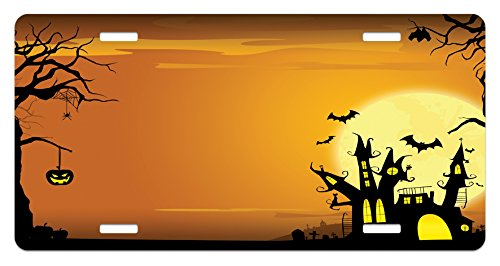 Ambesonne Halloween License Plate, Gothic Haunted House Bats Western Spooky Night Scene with Pumpkin Drawing Art, High Gloss Aluminum Novelty Plate, 5.88 L X 11.88 W Inches, Orange -