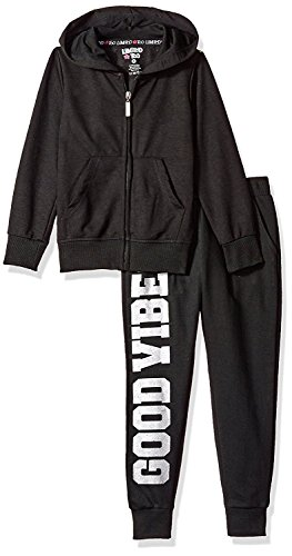 Limited Too Little Girls' 2 Piece Fleece Jog Set (More Styles Available), Black, 6X by Limited Too