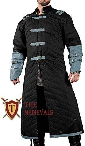 Black Medieval Thick Padded Full Length Sleeves Gambeson Coat Aketon Jacket