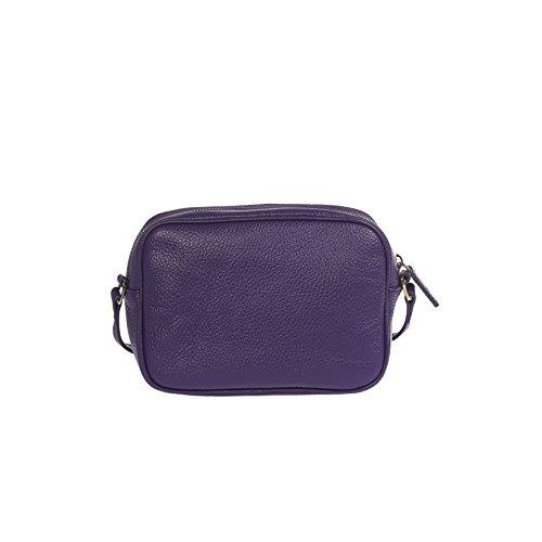 Femme métallique Dollar 100 20x14x7 bandoulière en Calf sac avec main Violet véritable cuir Petit Clutch Cm Trussardi à BqCwd8B